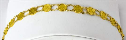 14K Gold Liberty Head Coin Motif Link Bracelet