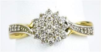 14 K Yellow Gold Diamond Cluster Ring