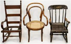 Antique Child Doll Size 19th Century Chair Rocker