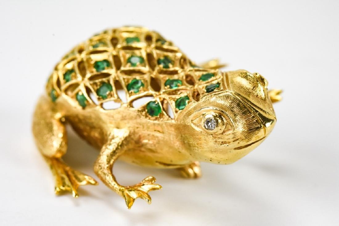 Estate 18k Gold Diamond & Emerald Frog Brooch