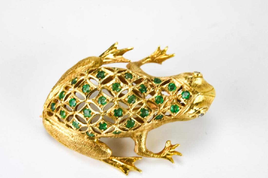 Estate 18k Gold Diamond & Emerald Frog Brooch - 2
