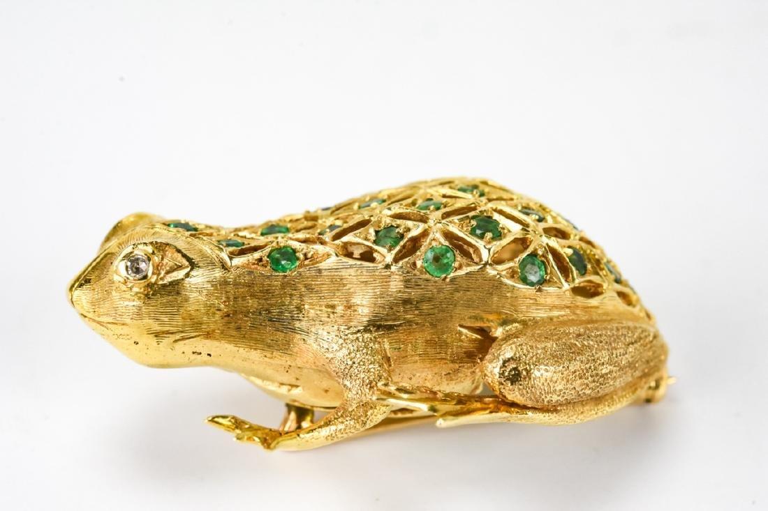 Estate 18k Gold Diamond & Emerald Frog Brooch - 3