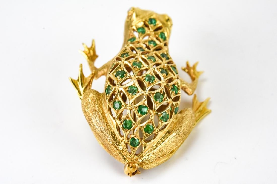 Estate 18k Gold Diamond & Emerald Frog Brooch - 4