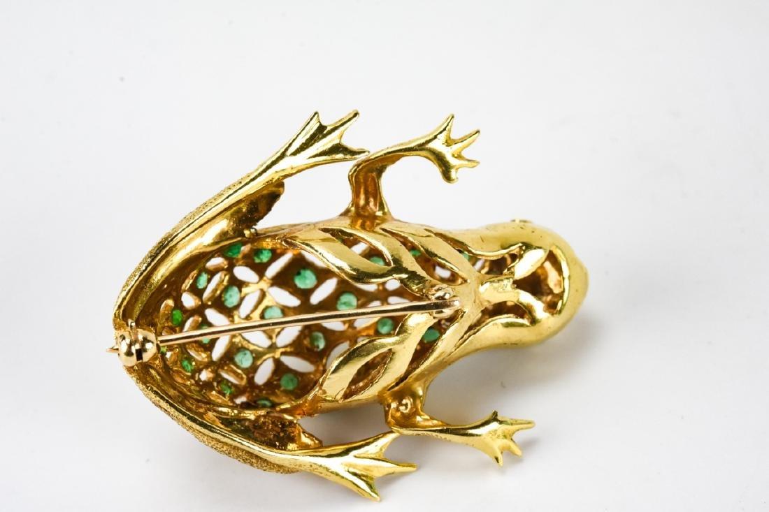Estate 18k Gold Diamond & Emerald Frog Brooch - 5