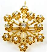 Antique 14kt Yellow Gold & Diamond Pendant