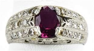 Antique Edwardian Platinum Ruby & Diamond Ring