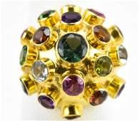 Estate Retro 18k Yellow Gold Gemstone Sputnik Ring