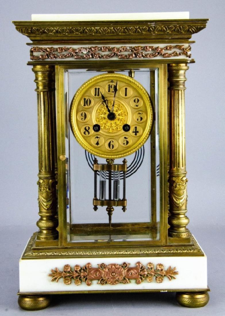 Antique French Empire Gilt Bronze & Marble Clock
