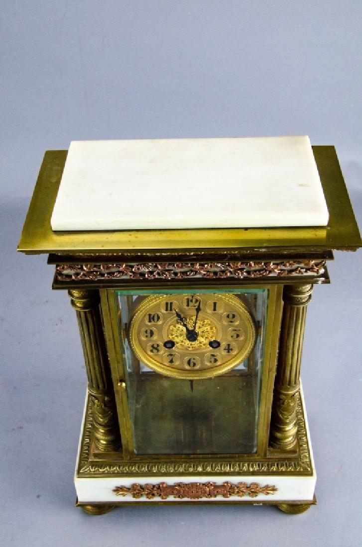 Antique French Empire Gilt Bronze & Marble Clock - 6