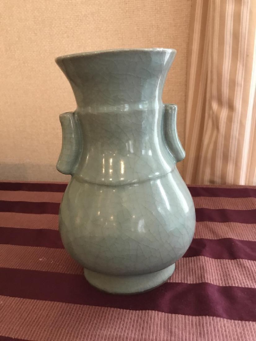 Chinese Signed Crackleware Celadon Porcelain Vase - 3