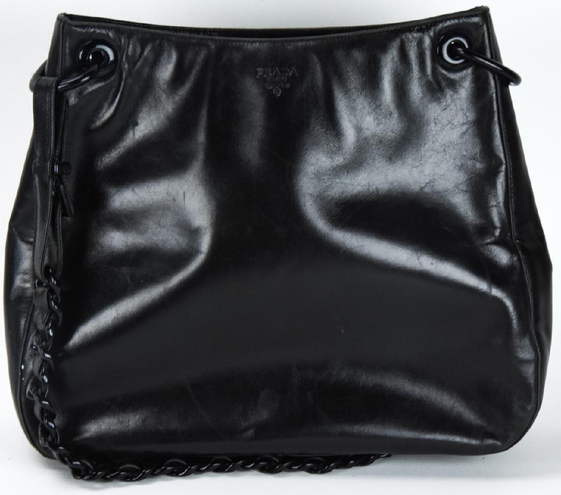 Prada Italian Black Leather Handbag / Purse