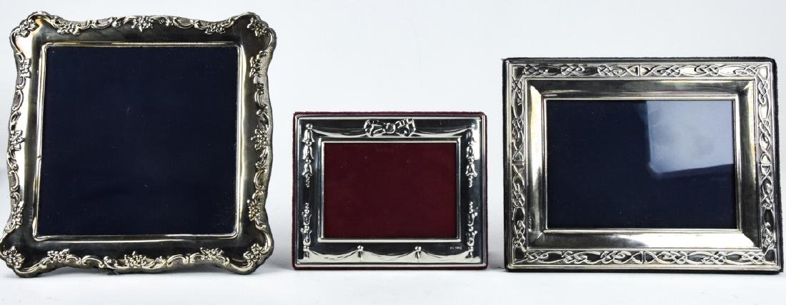 3 Sterling Silver Standing Picture Frames