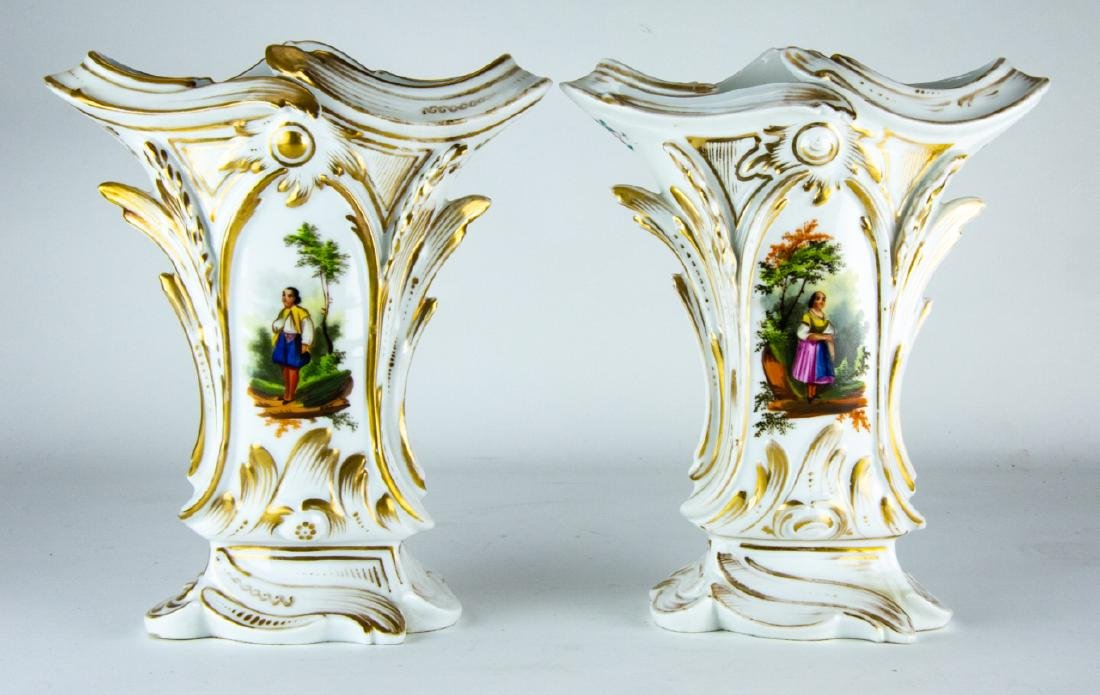 Pair Antique 19th C Old Paris Porcelain Vases