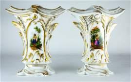 Pair Antique 19th C Old Paris Porcelain Vases