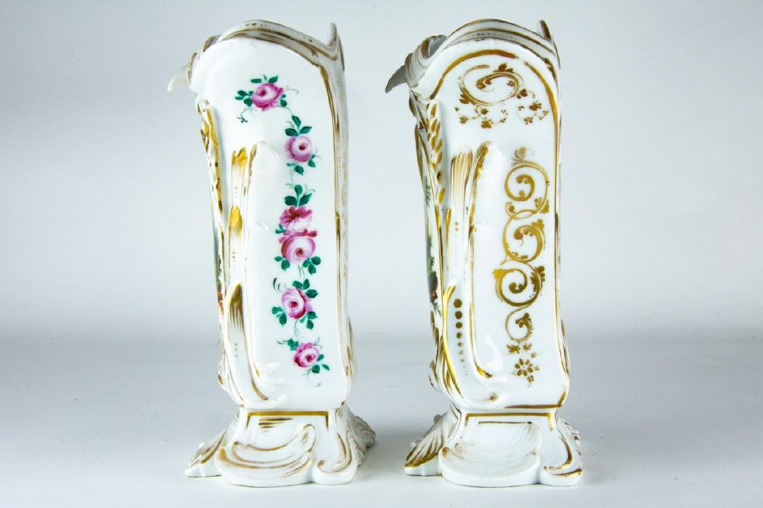 Pair Antique 19th C Old Paris Porcelain Vases - 7