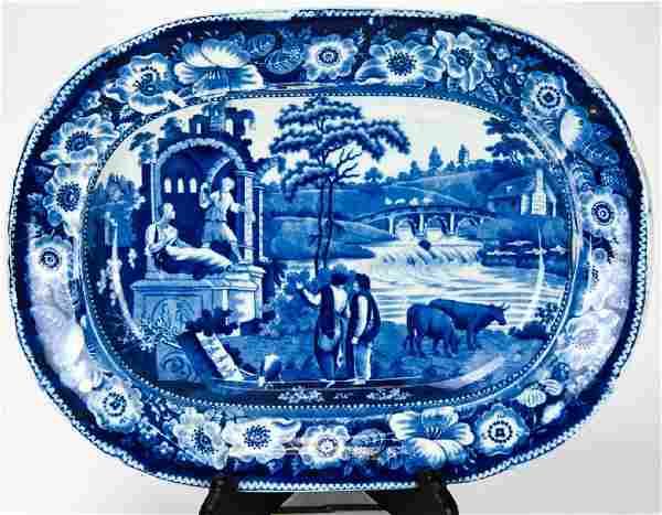 Antique 19th C Ironstone Transferware Platter