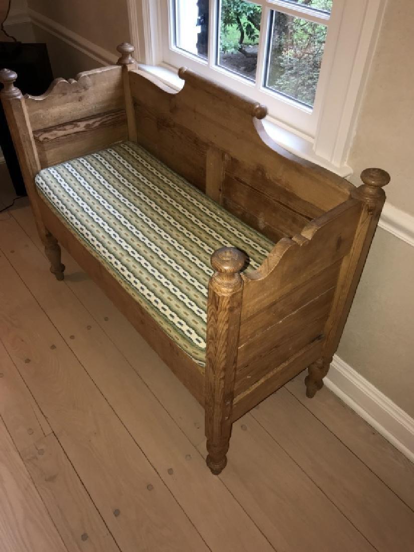 Custom Made Pine Wood Bench Using Antique Lumber - 2