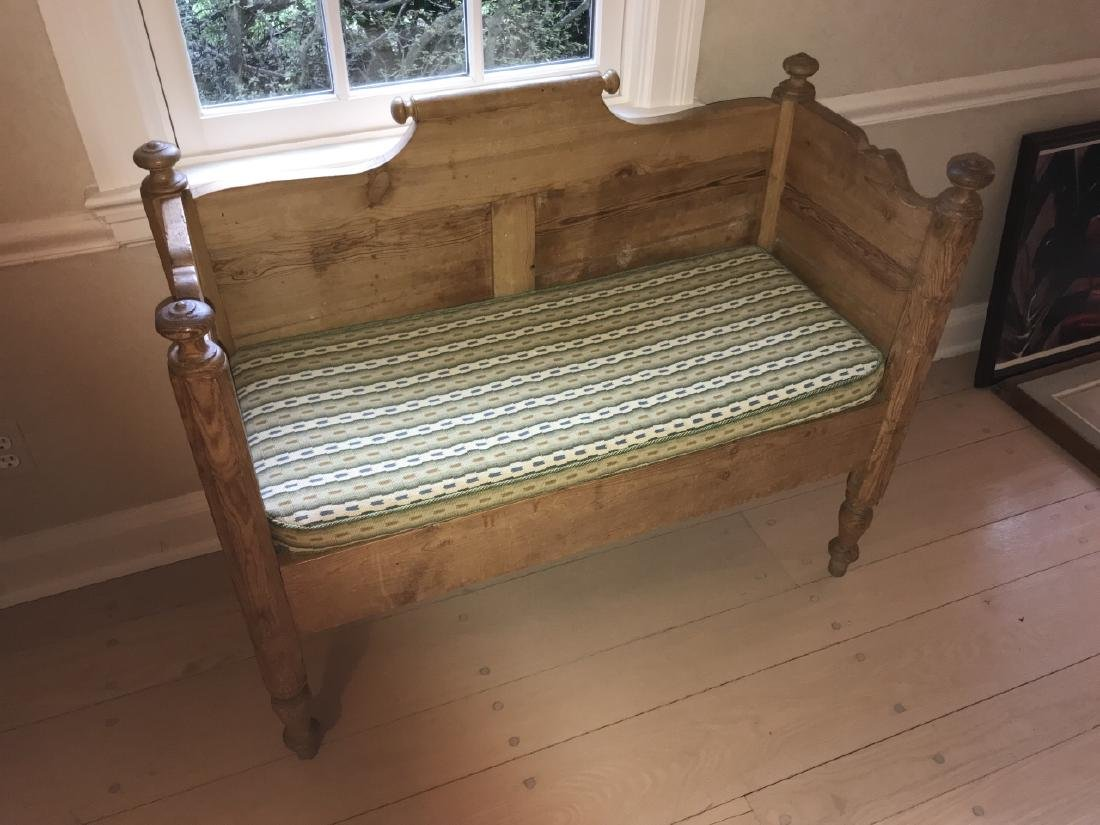 Custom Made Pine Wood Bench Using Antique Lumber - 3