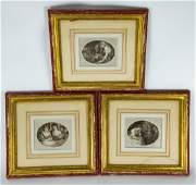Set Three Antique 18th C English Framed Engravings