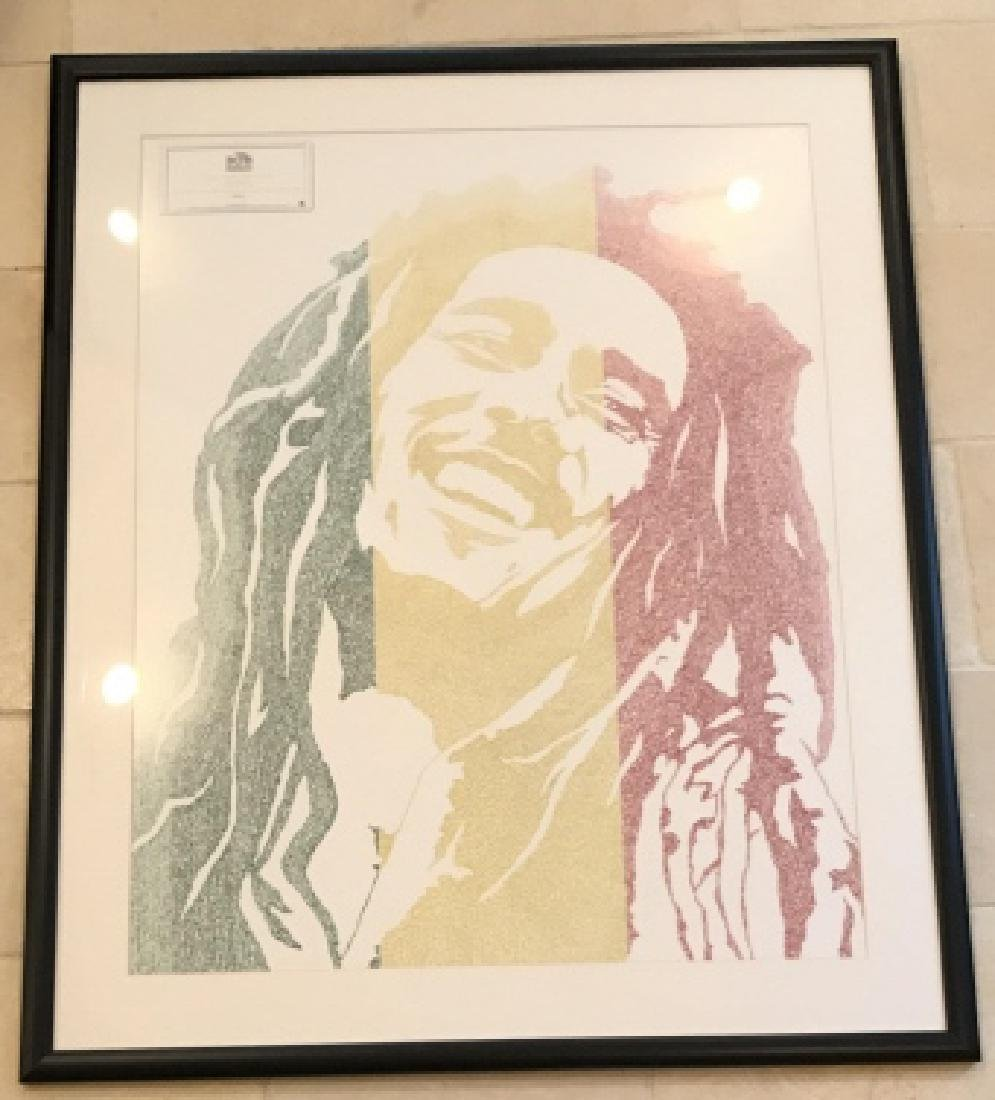 Framed Bob Marley Lyrics Printed at His Portrait