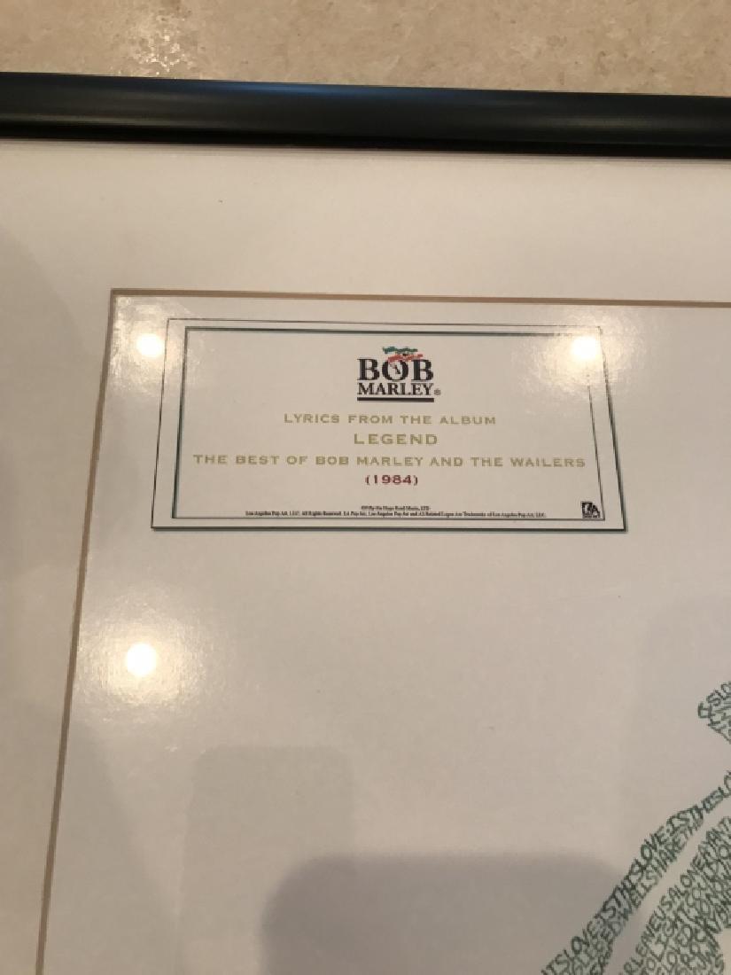 Framed Bob Marley Lyrics Printed at His Portrait - 2