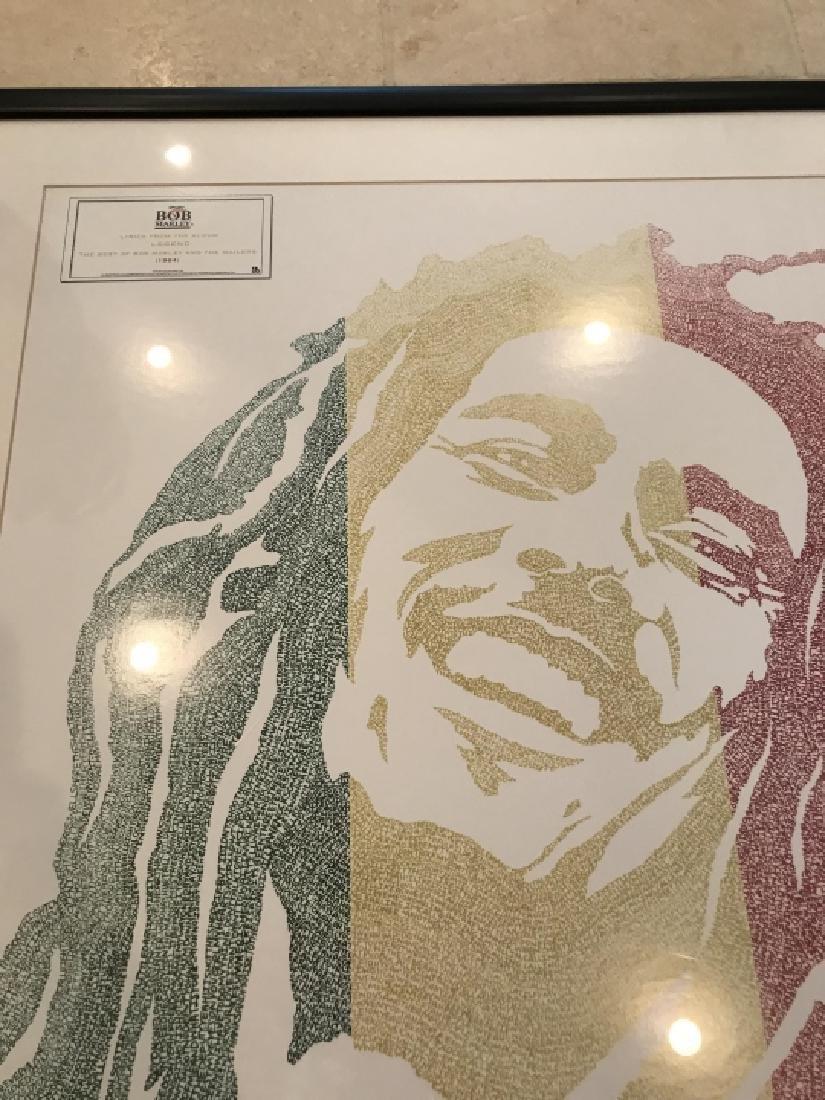 Framed Bob Marley Lyrics Printed at His Portrait - 3