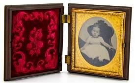 Antique 19th C Gutta Percha Case w Photo of Child