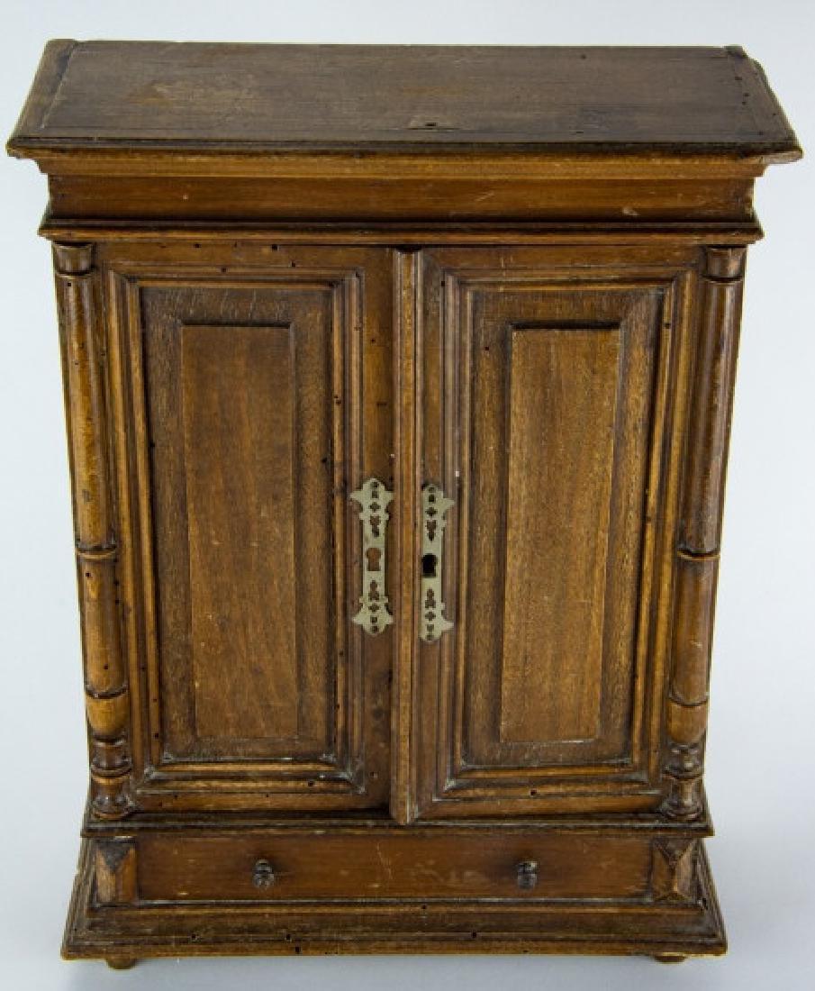 Antique 19th C Doll Size Miniature Armoire Cabinet