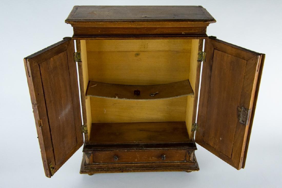 Antique 19th C Doll Size Miniature Armoire Cabinet - 2