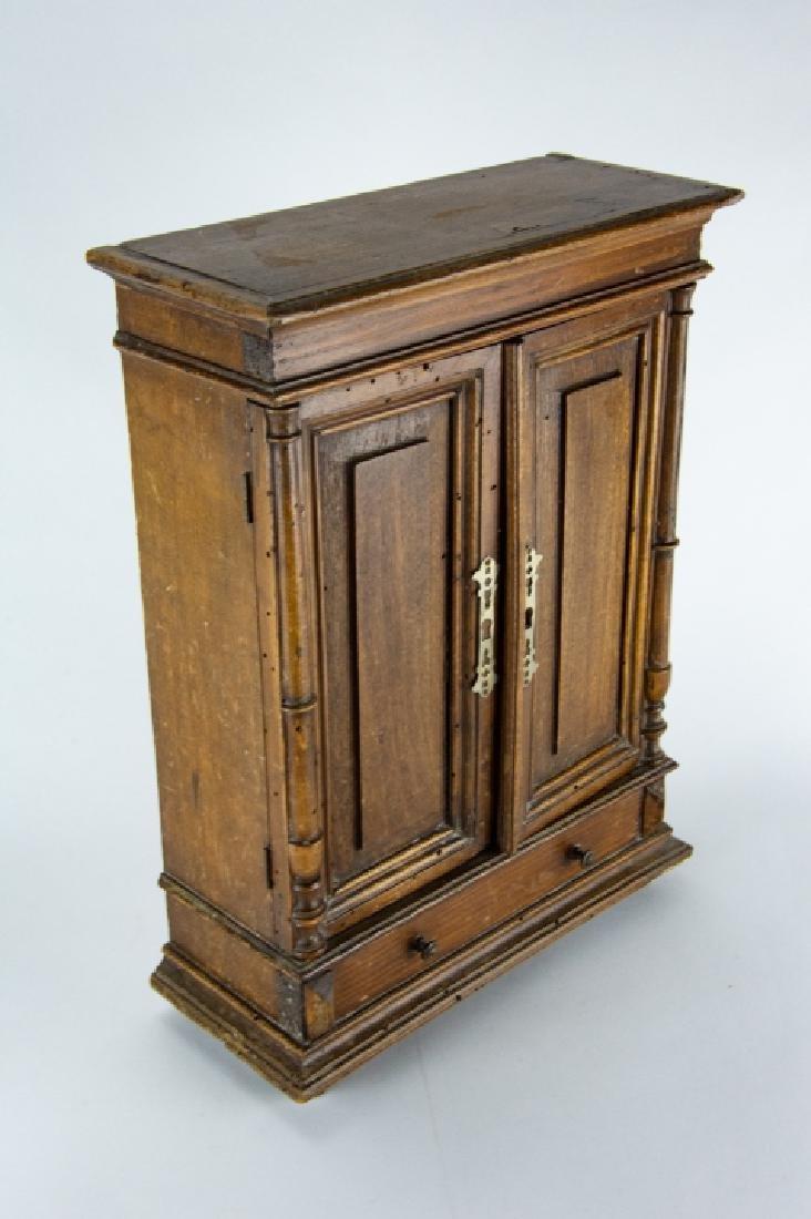 Antique 19th C Doll Size Miniature Armoire Cabinet - 3