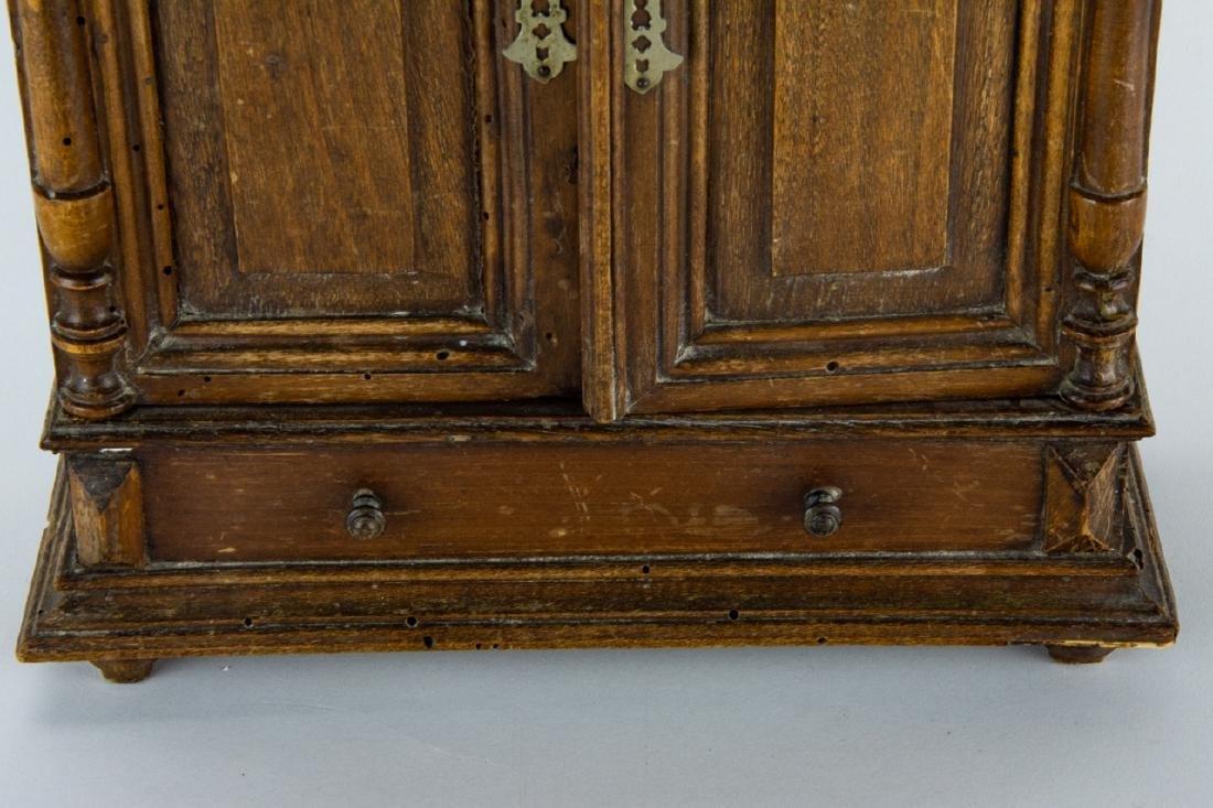 Antique 19th C Doll Size Miniature Armoire Cabinet - 6