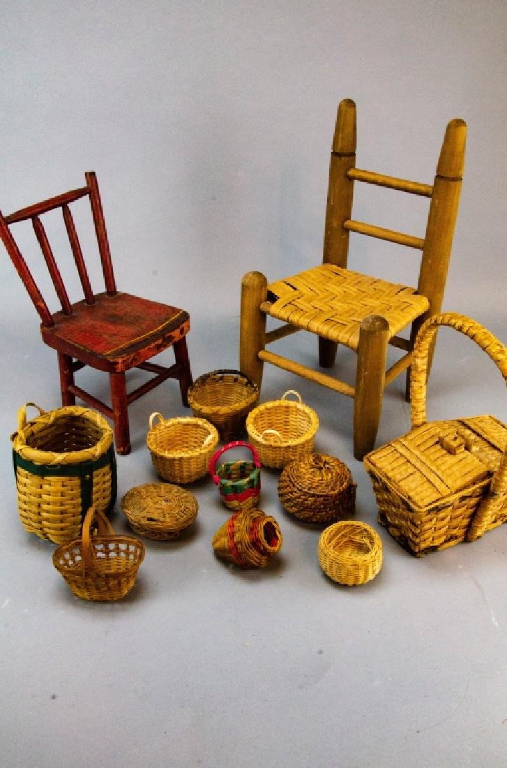 Antique Doll & Dollhouse Size Chairs & Baskets - 2