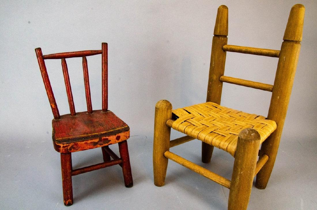 Antique Doll & Dollhouse Size Chairs & Baskets - 3