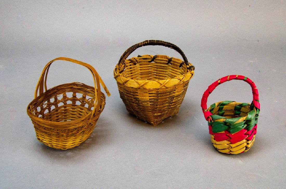 Antique Doll & Dollhouse Size Chairs & Baskets - 6
