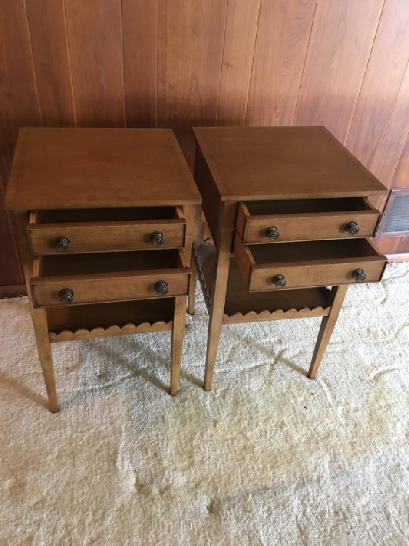 Pair Vintage Wooden Nightstands / End Tables - 4