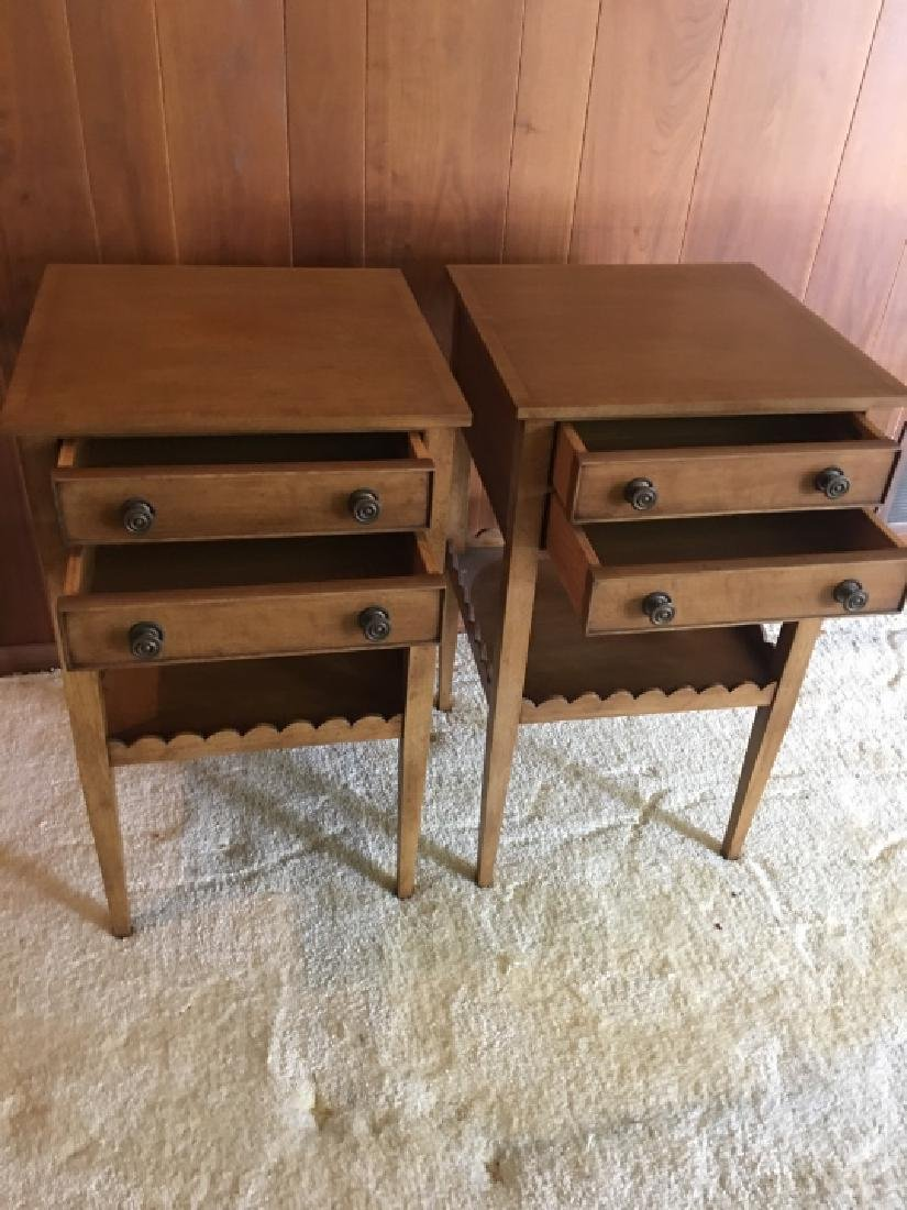 Pair Vintage Wooden Nightstands / End Tables - 5