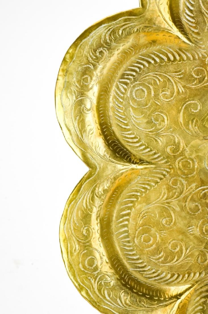Antique Persian Round Chased Brass Serving Tray - 8