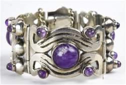 Vintage Sterling Silver & Amethyst Panel Bracelet
