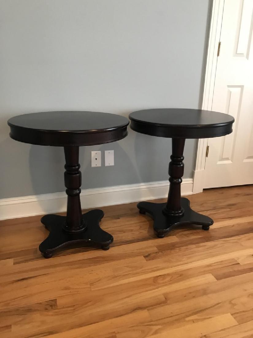 Pair Mahogany Tone Round Pedestal Base End Tables