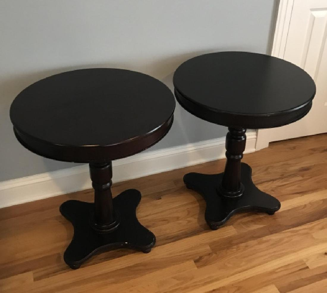 Pair Mahogany Tone Round Pedestal Base End Tables - 2