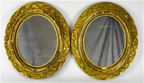 Pair of Antique 19th C Gilt Wood Oval Mirrors