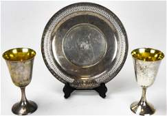 Sterling Silver Reticulated Platter  Pair Goblets
