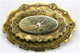 Antique 15kt Yellow Gold  Diamond Mourning Brooch
