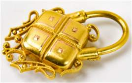 Antique 19th C 20kt Yellow Gold Padlock Pendant