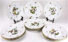 12 Herend Hungary Rothschild Bird Dinner Plates