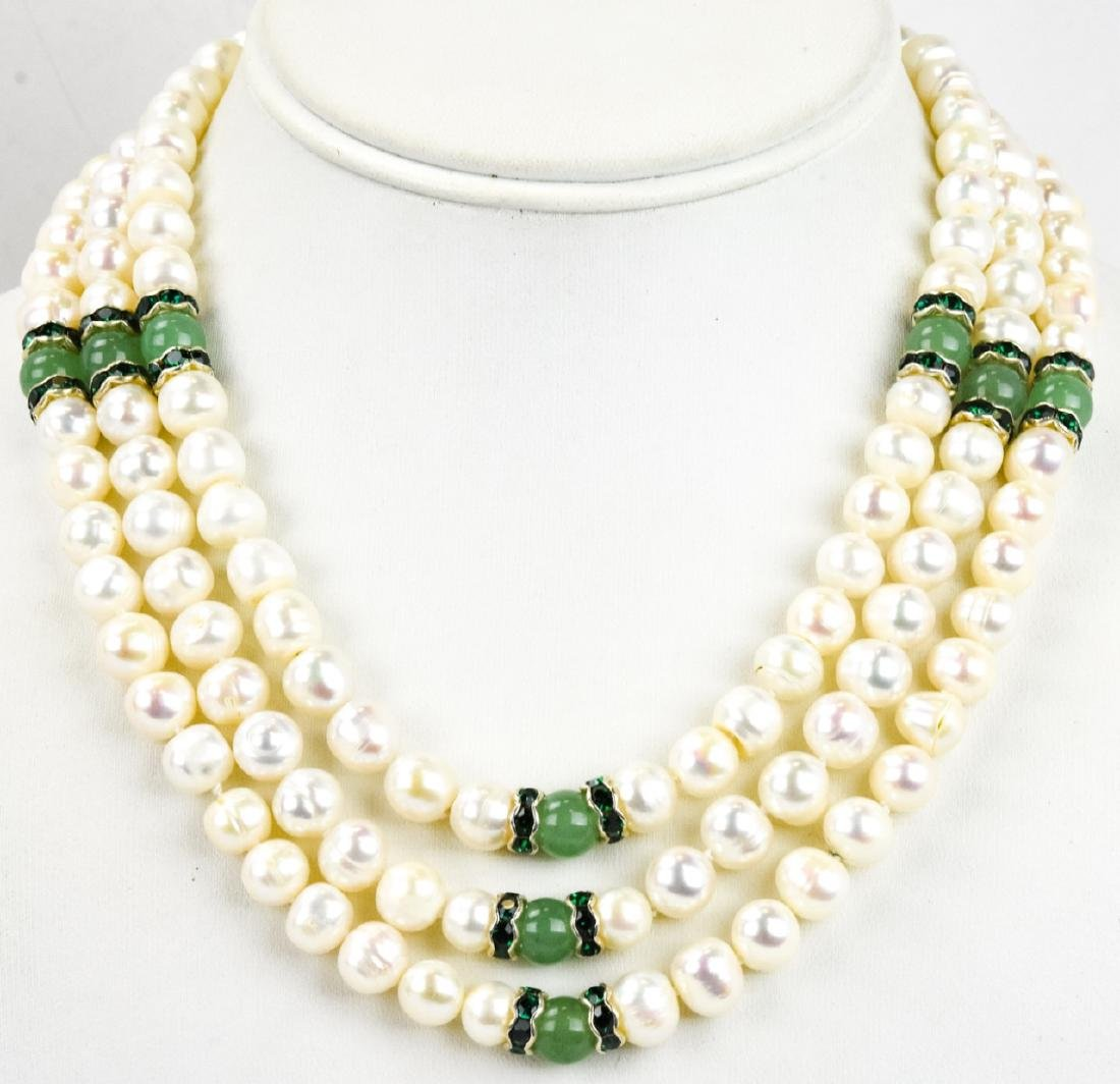 Triple Strand Baroque Pearl & Jade Necklace