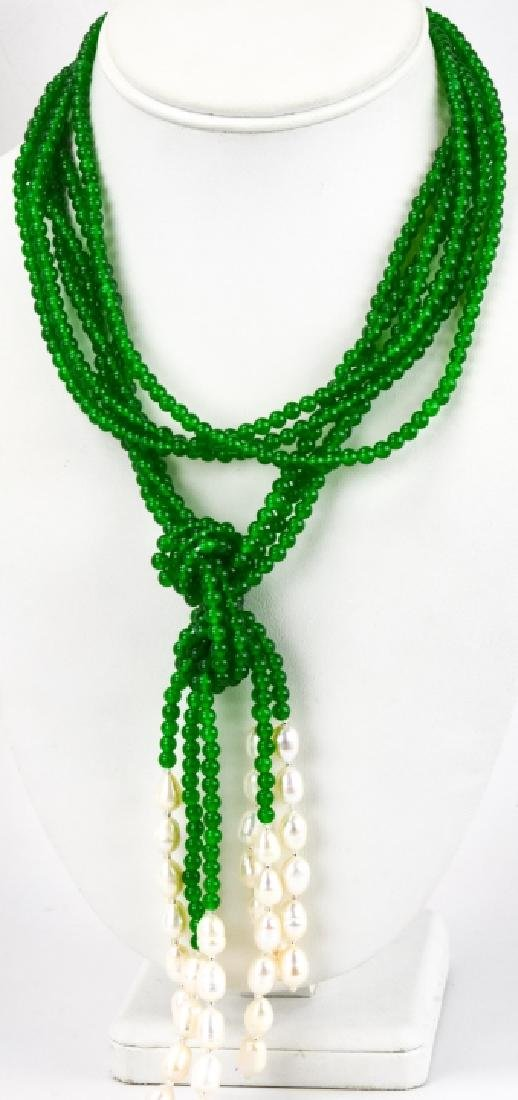 Triple Strand Green Jade & Pearl Lariat Necklace