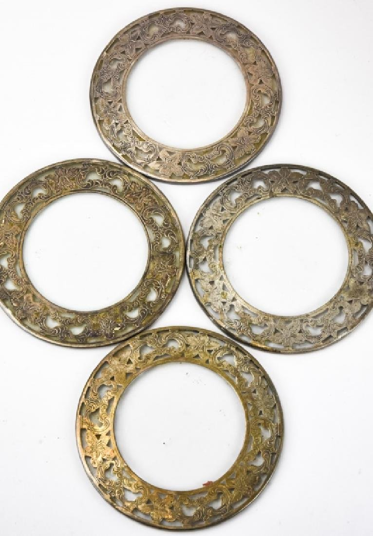 Set of Four Sterling Silver & Glass Coasters