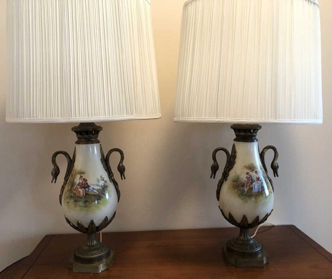 2 Paris Porcelain Style Lamps Bronze Ormolu Swans