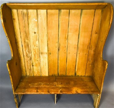 Country Style Rustic Pine High Back Bench